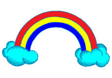 Rainbow and clouds in the sky Royalty Free Stock Photography
