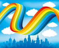 Rainbow and clouds. Rainbow and clouds in the sky over the city Royalty Free Stock Photo