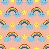 Rainbow, clouds and stars with his eyes closed. Baby seamless pattern. Colorful Royalty Free Stock Photo