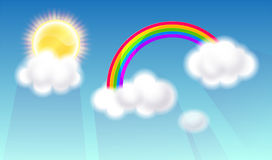 Rainbow and clouds with sun Royalty Free Stock Photo