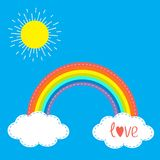 Rainbow clouds and sun in the sky. Dash line. Love card. Flat design. Royalty Free Stock Image