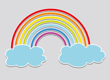 vector rainbow and clouds stock illustration