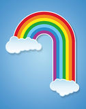 Vector rainbow and clouds Royalty Free Stock Image