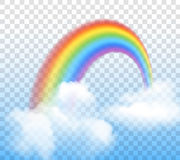 Rainbow With Clouds Transparent. Bright arched rainbow with clouds realistic vector illustration on transparent background Stock Photos