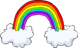 Rainbow with clouds stock illustration