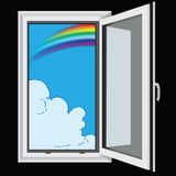 Rainbow and clouds through window Royalty Free Stock Image