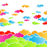 Rainbow cloudscape background. Vector illustration of a happy rainbow colorful cloudscape Royalty Free Stock Photo