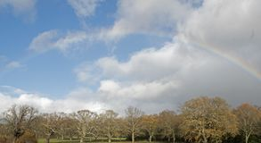 A rainbow above the Boating Lake Southampton Common royalty free stock image