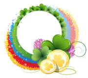 Rainbow, clover and gold coins Stock Photography