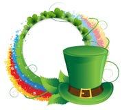 Rainbow, clover and  Leprechaun hat Royalty Free Stock Photos
