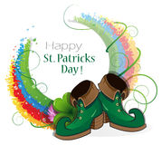 Rainbow, clover and  Leprechaun shoes Royalty Free Stock Photos