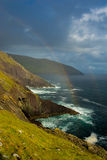 Rainbow At The Coast Of Slea Head In Ireland Stock Image