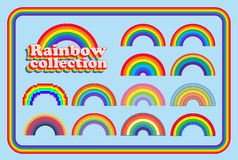 Rainbow collection. Collection if differents style and colors of rainbows, classics, vintage, girly and pixel Stock Photography