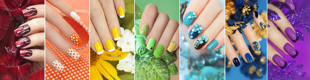 Rainbow collection of nail designs. Rainbow collection of nail designs for summer and winter time of year with glitter,sequins and various decorations with Royalty Free Stock Image