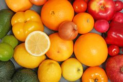 Rainbow collection of ripe fruits and vegetables. As background, top view royalty free stock photos