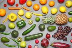 Rainbow collection of ripe fruits and vegetables