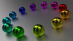 Rainbow color balls in circle Royalty Free Stock Photo