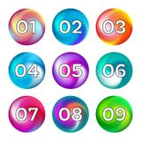 Rainbow color buttons with numbers Royalty Free Stock Photo