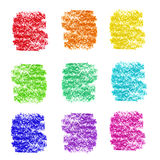 Rainbow color cosmetic pencil stroke samples. On white Royalty Free Stock Image