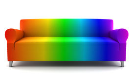 Rainbow color couch isolated on white Stock Photos
