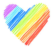 Rainbow color drawing stroke heart shape. On white background Royalty Free Stock Photography