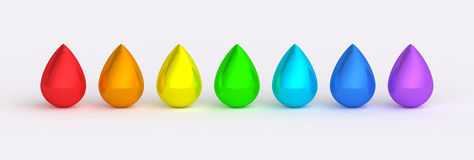 Rainbow color drops reflective textures. Multiple rainbow colour metallic drops. Red, orange, yellow, green, cyan, blue and violet stock illustration