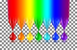 Rainbow color drops on transparent. The rainbow turns into translucent drops of paint of iridescent color and shadows on a transparent background. Realistic Royalty Free Stock Photos