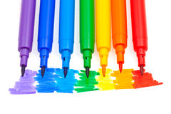 Rainbow color felt pens Royalty Free Stock Photos