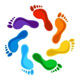 Rainbow Color Footprints - Design Elements. Vector Stock Photos