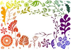 Rainbow color frame design made of flowers. Royalty Free Stock Photos