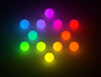 Rainbow color glowing balls Star of David. Colorful glow balls arranged points connected like a David Star. Glow in the dark background Royalty Free Stock Images