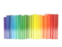 Rainbow color hardcover books isolated on white background Royalty Free Stock Photography