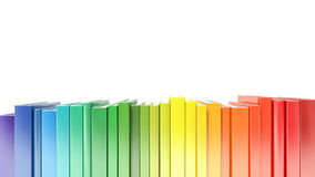 Rainbow color hardcover books isolated on white background.  Stock Photos