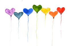 Rainbow color of heart balloons, watercolor illustrator Stock Photography