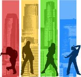 Rainbow Color Hip Hop. Silhouette. vector illustration Royalty Free Stock Photography