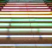 Rainbow color light stair way. stock photography