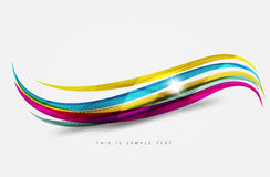 Rainbow color lines on white. Identity wave element Stock Photos