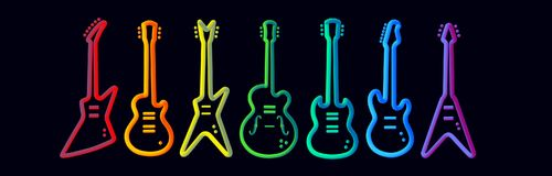 Rainbow color musical instruments neon tubed silhouette abstract design concept rock band performance. Electric guitar set royalty free illustration