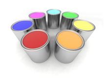 Rainbow Color Paint Cans Stock Photos