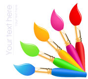 Rainbow color paintbrushes Royalty Free Stock Photo
