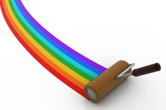 Rainbow color painting by roller brush Stock Photography