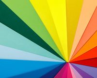 Rainbow color palette. Sheets of colored paper. Rainbow color palette. Sheets of different colored paper stock photo
