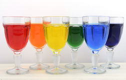 Rainbow color party drinks Royalty Free Stock Photo