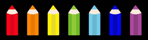 Rainbow color pencil icon set line. Back to school card. Flat design. Black background. Isolated stock illustration