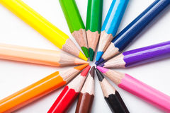 Rainbow color pencils Royalty Free Stock Photos