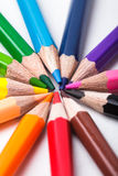Rainbow color pencils. Set round isolated on white Stock Images
