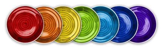 Rainbow Color Plates in Line Royalty Free Stock Image