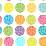 Rainbow color Polka dot background, seamless pattern. embroidery Stock Image
