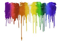 Rainbow color of screen print colors are dripping. In white background royalty free stock photo
