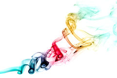 Rainbow color smoke swirl. Isolated on white background royalty free stock photos